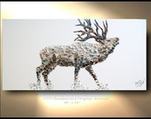 Elk Painting on Canvas Deer Original Artwork Home Decor Gift for Home Trending Stag Animal art By OTO