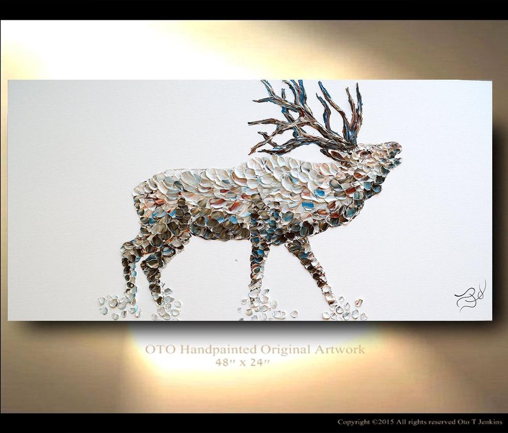Elk painting on canvas deer original artwork home decor gift for Peinture mural original