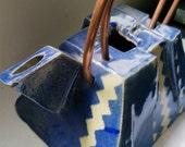 Modern Ceramic Teapot - Blue and Cream Zig Zag Design and Copper Handle