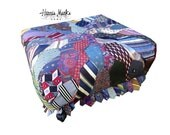 Upholstered Ottoman Bench Coffee Table Made From Vintage Men's Ties Menswear Pouf
