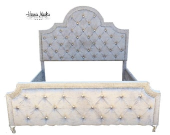 Tufted California King Bed Leather Black Rhinestone Crystal Button GLAM Nail Head Trim Custom Order For MICHELLE