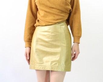 VINTAGE Gold Skirt Leather Mini Skirt XS