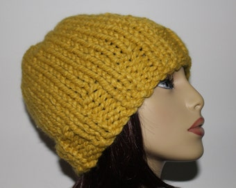 Mustard Beanie Hat, Yellow Knit Hat, Mustard Skull Cap, Mustard Knit Beanie, Adult Knit Hat, Yellow Skull Cap Yellow Knit Beanie, Citron Hat