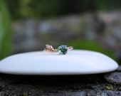 Green Sapphire branch and leaf engagement ring