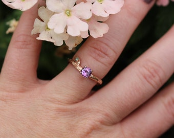Branch and leaf engagement ring with Purple Sapphire