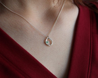 Blooming branch small circle necklace with gemstone