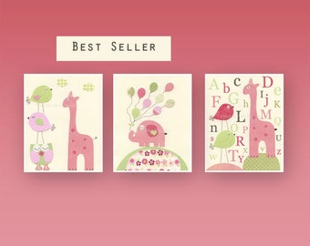 Baby girl art, Nursery wall art print, Pink and Green, Baby Room Decor, Baby Girl Nursery, Elephant, Giraffe, Balloon print, Set of 3 prints