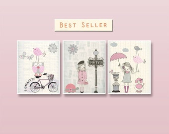 Shabby Chic Nursery Decor, Baby Room Shabby Chic Bonjour For Baby Girl - Paris Nursery art - Set of 3 prints French decor Light Pink Gray