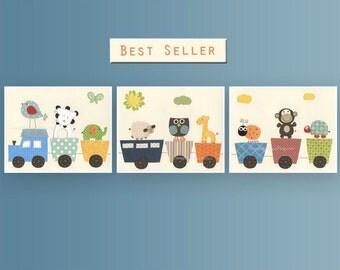 Baby Nursery Art, Set of 3, Baby Room, Nursery Art, Choo Choo Train, Baby Room decor, Safari animals, Nursery decor art, Baby decor prints