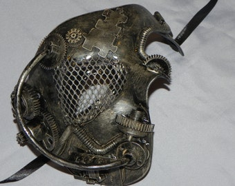 Pewter Silver Phantom of the Opera Mask with Steampunk Detailing - Steampunk Mask