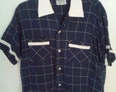 vintage 1950s 50s navy blue and white plaid shirt sz. L. large rockabilly atomic