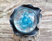 Sea And Waves ...   Fused Glass Ring. Bubble Ring. Adjustable Ring. Handmade Ring. Bubble Glass Ring.