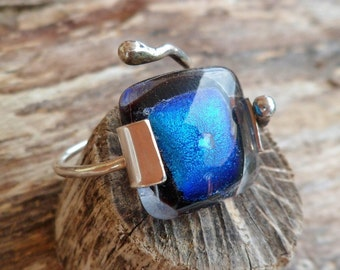 Dichroic Glass Ring. Fused Glass Ring. Adjustable Ring. Dichroic Ring. Handmade Ring.