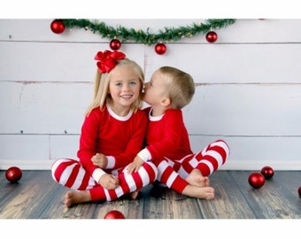5T Red/White Striped Christmas Pajamas - Monogrammed and/or Appliqued