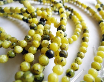 "Yellow Turquoise Beads 4mm - 16"" Strand - Yellows, Greens, Browns"