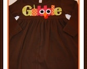 Gobble Thanksgiving Dress - Infant Toddler Youth Children Girls - You Choose Dress Color
