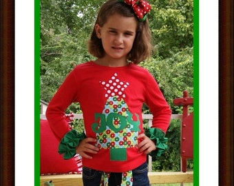Christmas Tree Shirt with Star ... Infant Toddler Youth Girl Sizes - Personalized Tree Top