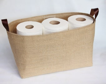 Hessian Burlap Toilet Roll Storage Basket Bucket, Eco  Rustic Jute Storage - UK - Bathroom, Nursery, Shelf Basket, Tidy, Organiser