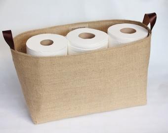 Hessian Burlap Toilet Roll Storage Basket Bucket, Eco  Rustic Jute Storage - UK - Bathroom, Nursery, Shelf Basket, Tidy, Organiser