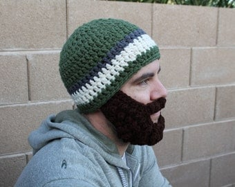 SALE!! Adult ULTIMATE Bearded Beanie Sage Charcoal Mix