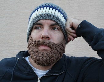SALE!! Adult ULTIMATE Bearded Beanie Heather Grey Navy Mix
