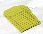 Book Lover - Colorful Library Card Hang Tags - Chartreuse Green - Set of 8 - Bibiliophile - Gift Tags - Gift Wrap - Scrapbooking