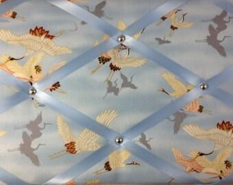 "Pin Board/Notice Board ""Beautiful Birds"" Message, Memo, Bulletin, Fabric, Ribbon  Board"