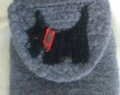 Scottish terrier pouch bag with wrist strap. Ooak