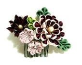 Tsumami kanzashi. Kanzashi flower. hair comb.  hair pin. fabric flower. japanese flower. japanese art. Bridal, prom, party