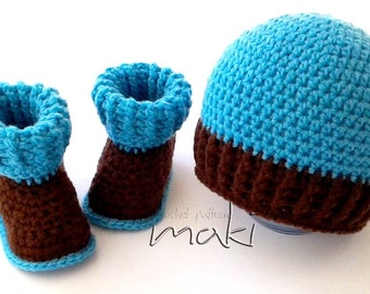 Crochet pattern set - baby boots and hat for boys and girls. Full of large pictures! Permission to sell finished items.