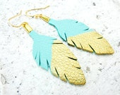 Feather Earrings. Gold Dipped Feathers. Leather Earrings. Blue Earrings. Leather Jewelry. Bohemian Boho