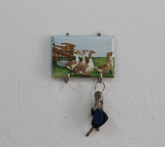 Decoupage Key Ring Unique Key Holder Farmhouse Decor Key