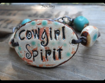 SALE Cowgirl Spirit Cuff Bracelet Inspirational Bracelet