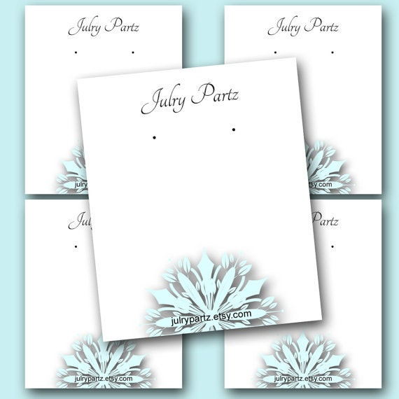Diy Bracelet Display Card: DIY SNOW #3 Earring Cards, Jewelry Cards,Tent Card,Earring