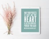 Irish Blessing, Irish Quote, Decor, May Your Pockets, Quote, Housewarming, Minimal Art, Digital Download, Modern Poster, Art Print,