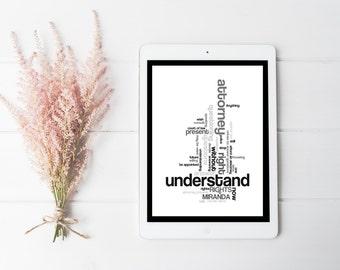 Miranda, Mirandized, Legal, Law, Lawyer, Police Officer, Gray, Grey Print, Minimal Art, Digital Download, Modern Poster, Art Print, Decor,