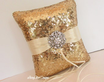 Sequin Ring Bearer Pillow, Gold Sequin Wedding Ring Pillow  - Custom Made