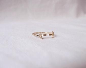 Budding leaf diamond ring