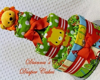 Baby Diaper Cake Zoo Animals - Choose Topper and Fabric - Shower Gift or Centerpiece