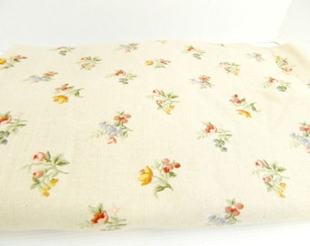 Vintage Linen Look Floral Upholstery fabric  Raymond Waites home decor craft