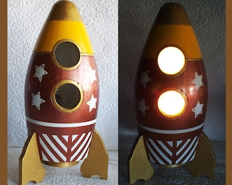 Boys Bronze Nightlight Lamp Rocketship
