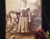 Cabinet Card Photo  - Girl of Detroit Michigan with Doll and Carriage