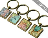 CUSTOM Map Keychain. You Select Location. Anywhere In The World. One Map Keyring. Travel. Personalized.