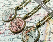 CUSTOM Map Necklace. You Select Location. Anywhere In The World. One Necklace. Map Pendant. Map Jewelry. Personalize.
