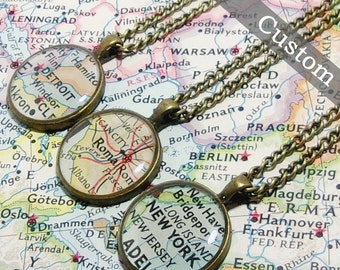 CUSTOM Map Necklace. You Select Location. Anywhere In The World. Map Pendant. Map Jewelry. Personalize.