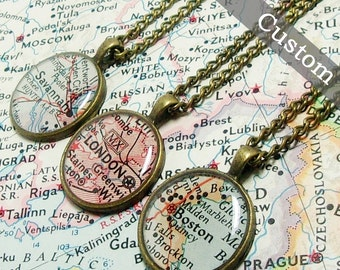 CUSTOM Map Necklace. You Select Location. Anywhere In The World. One Necklace. Map Pendant. Map Jewelry. Personalized.