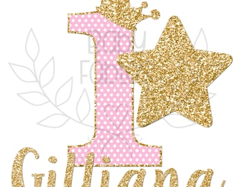 1st birthday Iron On transfer, Birthday Girl, Birthday, Gold and Pink 1st Birthday, First Birthday, Gold glitter iron on