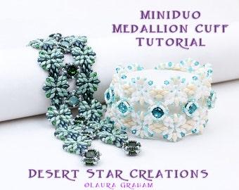 Superduo MiniDuo Crystal Medallion Bracelet Tutorial, Beadweaving Cuff Pattern, Two Hole RAW PDF Instructions, Laura Graham Orig Design