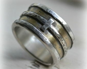 Reserved for Jerry, mens wedding band, rustic fine silver 14K yellow gold, sterling cross ring, handmade artisan designed wide band ring