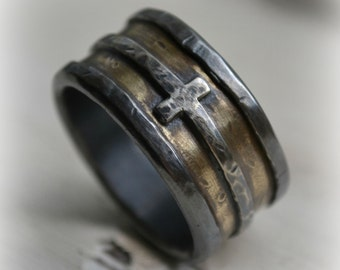 mens wedding band - rustic fine silver brass and sterling silver cross - handmade custom wide band ring - manly ring, Cross ring, Jesus